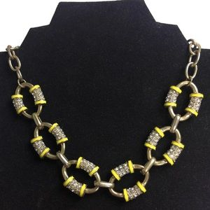 J Crew Chainlink Yellow Pave Enamel Gold Necklace